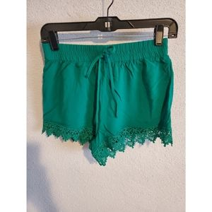 Green Lightweight Lace Shorts
